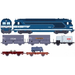 Coffret avec locomotive diesel BB 67002 livrée bleue et 5 wagons marchandises (photo indicative)
