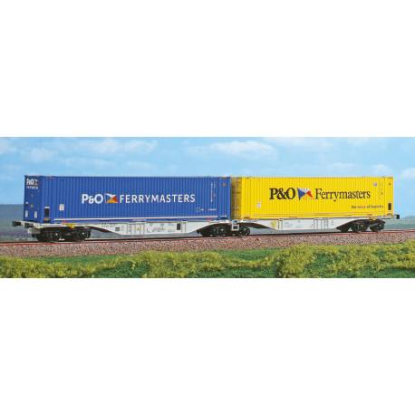 """Wagon double porte container """"P&O Ferrymasters"""""""" type sggmrss """"90"""""""