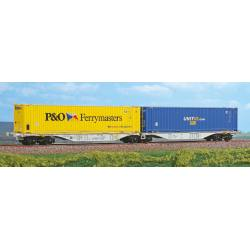 "Wagon double porte container ""P&O Ferrymasters"" et ""UNIT45.com"" type sggmrss ""90"""