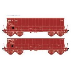 Ensemble de 2 wagons tombereaix DM / DMH Rouge UIC SCRCSNCB