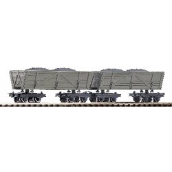 Lot de 2 wagons pour le transport de tourbe